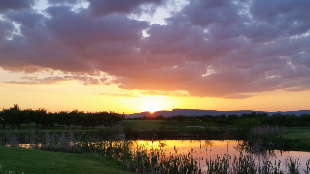Sunset over the golf course at Apple Greens Golf Course