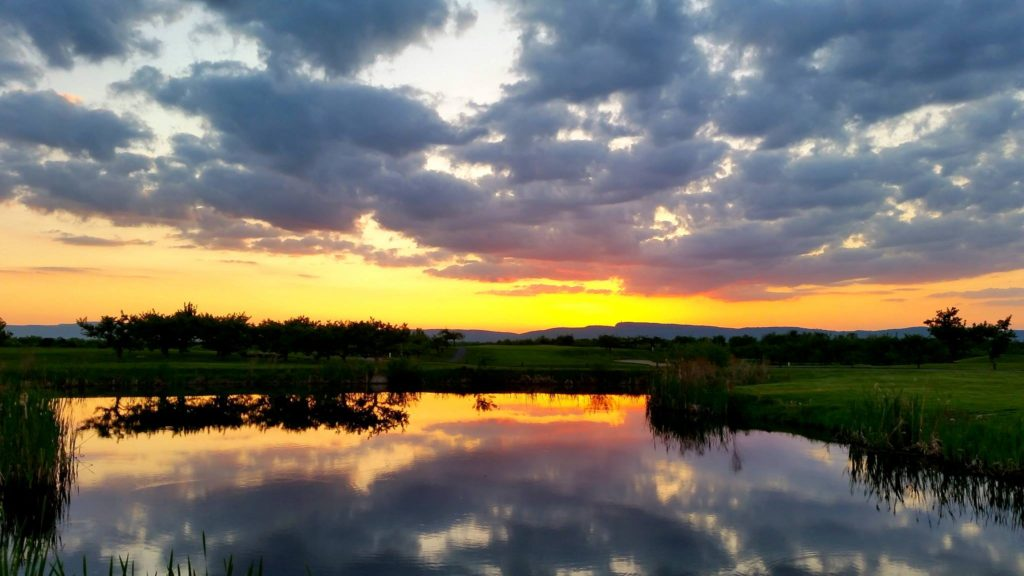 overlooking a water hazard at sunset at Apple Greens Golf Course